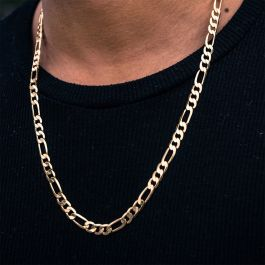 Cadena Figaro de Acero Inoxidable de Oro de 5mm