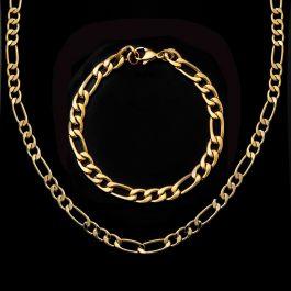 5mm Juego de Cadenas Figaro de Oro