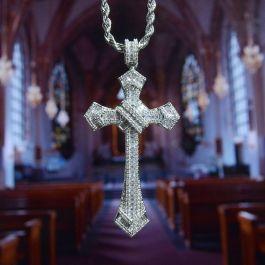 Colgante Cruz de Diamantes y Baguette