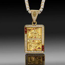 Colgante de carta del Rey del Corazón Rojo con Diamantes de Oro