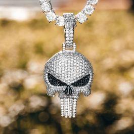 Colgante de Calavera de Plata con Diamantes