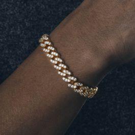 Pulsera Cubana de Oro con Diamantes de 8mm
