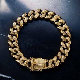 Pulsera Cubana con Diamantes de Oro de18K de 13mm