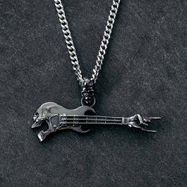 Colgante de Guitarra Calavera Gestos de Rock de Oro Negro