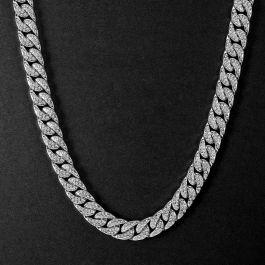 Cadena Cubana con Diamantes de Plata de 18K de 13mm