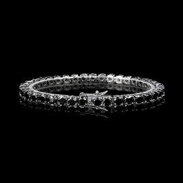 Pulsera de Tenis con Piedras Negras de Oro Negro de 18K de 5mm