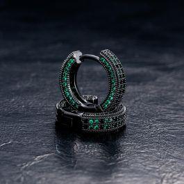 Aretes Tipo Argolla de Esmeralda con Diamantes y Piedras Negras de Oro Negro