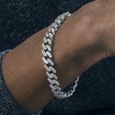 Pulsera cubana de plata con diamantes de 8 mm