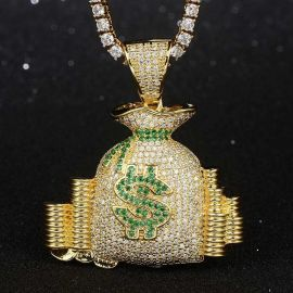 Colgante de la Bolsa de Dinero de Oro con Diamantes