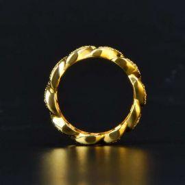 Anillo Cubano de Oro con Diamantes