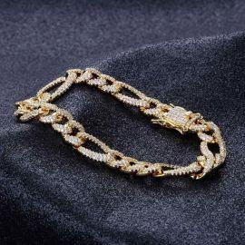 Pulsera de Figaro con Diamantes de Oro de 18K de 10mm