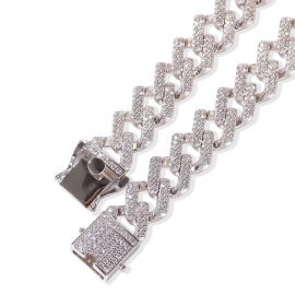 Pulsera Cubana de Miami con Diamantes de Plata de 18K de 14mm