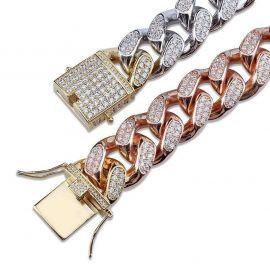 Nueva Pulsera de Eslabones Cubanos con Diamantes Tricolor de 14 mm