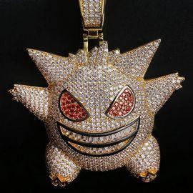 Gran Colgante de Gengar de Oro con Diamantes ,Grabado Gratuito