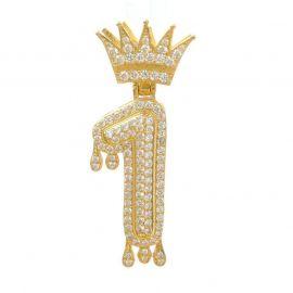 Colgante con Números Goteando de Oro con Diamantes