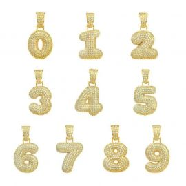 Colgante de Números de Oro con Diamantes