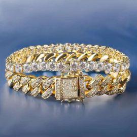 Juego de pulseras cubanas de 12mm y de tenis de 5mm de oro 18K con diamantes
