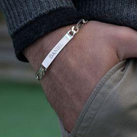 Pulsera de Identificación con Cadena Figaro Engravable Personalizada para Hombre
