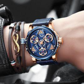 Reloj mecánico impermeable de aleación para hombre de 44 mm con correa de cuero