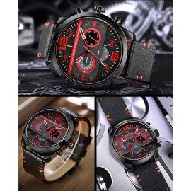 Reloj con correa de cuero multifunción estilo mecánico de 41 mm para hombres