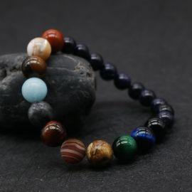 Pulseras de Cuentas en Forma de Planetas de Universo de Piedra Natural de Moda