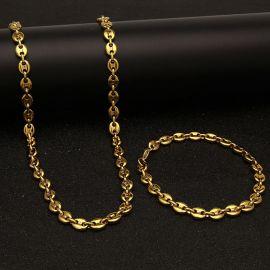 7mm Juego de Cadenas de Granos de Café de Acero Inoxidable de Oro
