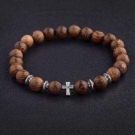 Pulseras de cuentas de oración de madera natural para hombres