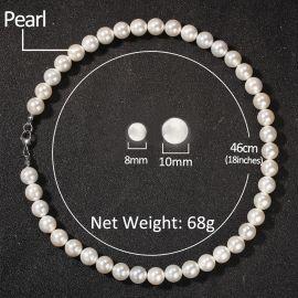 Collar de Perlas con Colgante de Cruz  de 8mm para Hombres
