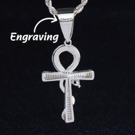Colgante de Cruz Ankh Ouroboros de Plata con Diamantes
