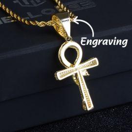 Colgante de Cruz Ankh Ouroboros de Oro con Diamantes