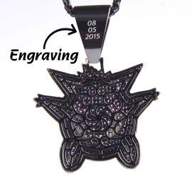 Gran Colgante de Gengar de Oro negro con Diamantes Púrpuras,Grabado Gratuito