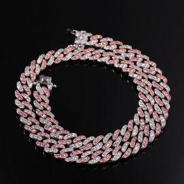 Cadena de Eslabones Cubanos de Dos Tonos con Diamantes Rosas y Blancos de 8mm