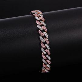 Pulsera Cubana con Diamantes Rosados y Blancos de Dos Tonos de 8mm