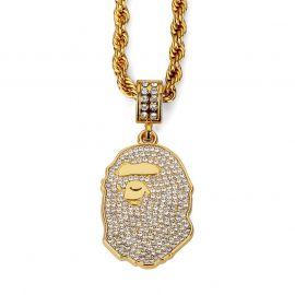 Colgante de Cabeza de Mono de Oro con Diamantes