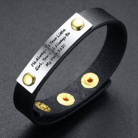 Pulsera de cuero ajustable con barra de texto de acero para regalo del padre