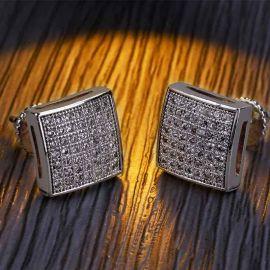 Pendientes de Botón de Forma Cuadrada con Diamantes