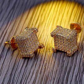 Pendientes de Botón con Diamantes Pavimentados