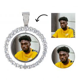 Colgante de Foto Giratorio Personalizado con Diamantes