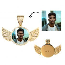 Colgante con Foto de Alas de Ángel Personalizado de Oro con Diamantes