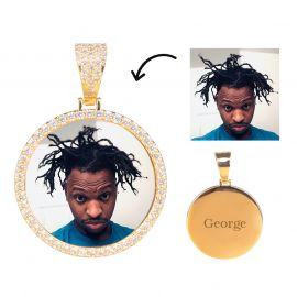 Colgante de Foto de Círculo Personalizado de Oro con Diamantes