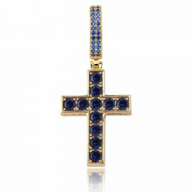 Colgante de oro en forma de cruz con zafiros y esmeraldas en ambos lados