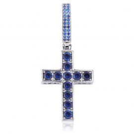 Colgante de plata en forma de cruz con zafiros y esmeraldas en ambos lados