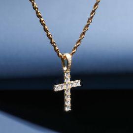 Colgante de Cruz en Talla Brillante de Oro