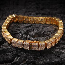 Pulsera con Diamantes Baguette de Oro de 8mm