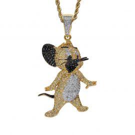 Colgante de ratones de dibujos animados de oro con diamantes