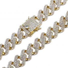 Pulsera Cubana de Miami con Acabado de Oro 18K con Diamantes de 14mm