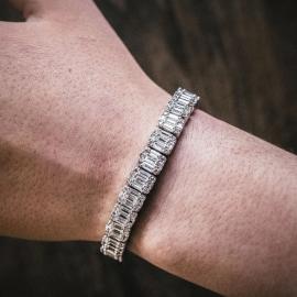 Pulsera con Diamantes Baguette de Plata de 8mm