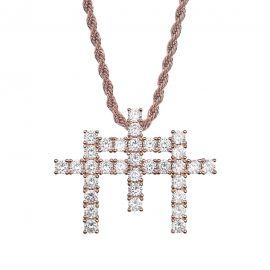 Colgante de Triple Cruz con Diamantes
