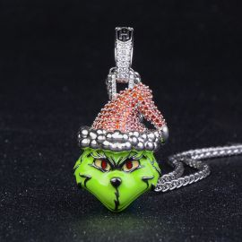 Colgante Monstruo Verde Navideño con Diamantes