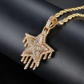 Colgante de Estrella Goteando de Meteorito con Diamantes